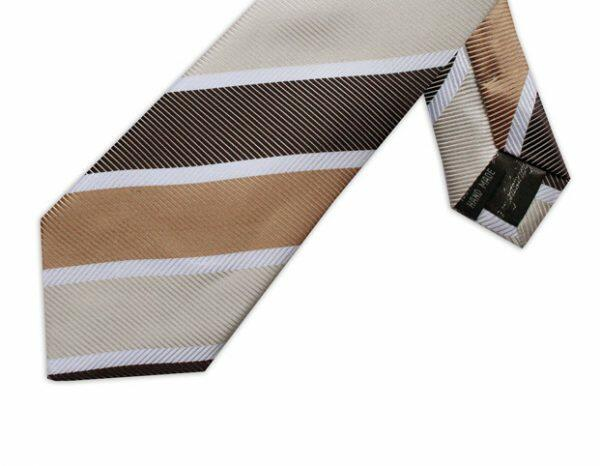 BEIGE, BROWN & WHITE DIAGONAL STRIPE TIE-0