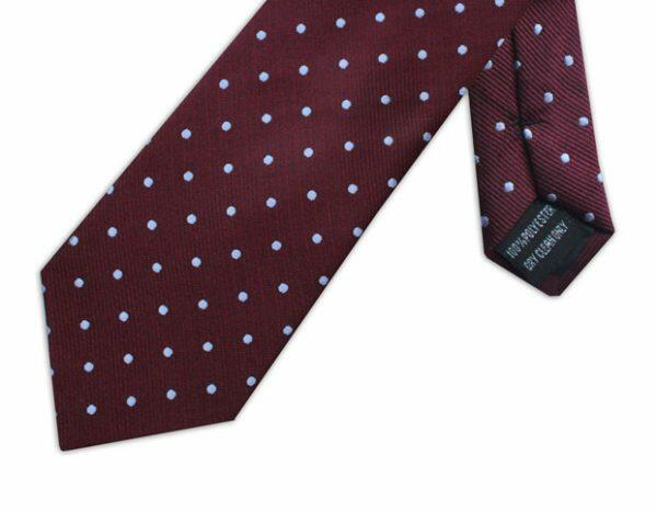 BURGUNDY & WHITE POLKA DOT TIE-0